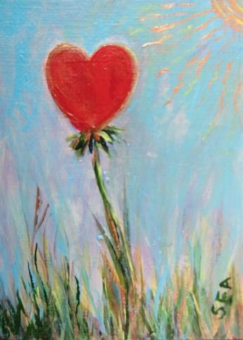 """3034 - SUMMER HEART ACEO Heart Series"" original fine art by Sea Dean"