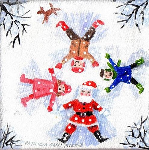 """Santa's Snow Angel Class"" original fine art by Patricia Ann Rizzo"
