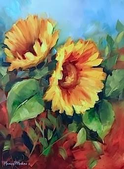 """Earth Child Sunflowers and Ripples Across the Pond by Nancy Medina"" original fine art by Nancy Medina"