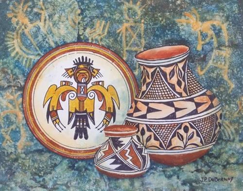 """Pots and Pictographs C"" original fine art by Jean Pierre DeBernay"