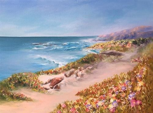 """Half Moon Bay, Spring Blossoms, 18 x 24, Oil, Seascape"" original fine art by Donna Pierce-Clark"