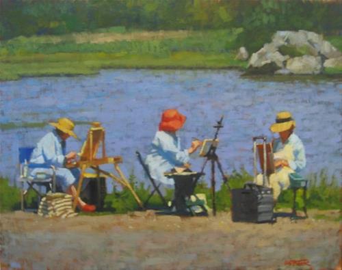 """""""Ladies Painting"""" original fine art by Kathy Weber"""