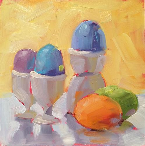 """Easter Eggs"" original fine art by Deborah Newman"