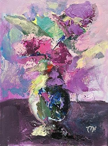 """""""Violet Flowers in Vase"""" original fine art by Mechele Flowers"""
