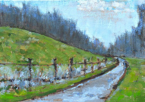 """Virginia Winter Farm"" original fine art by Kevin Inman"