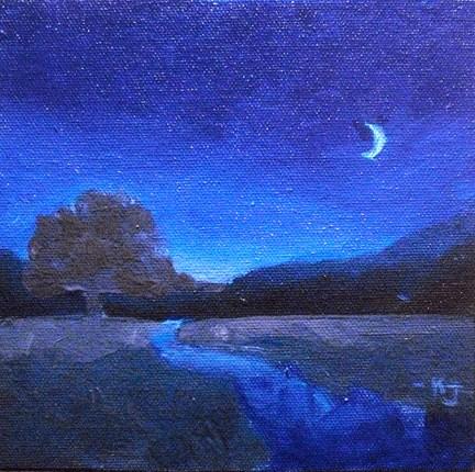 """#21 Lone Oak, Nocturnal"" original fine art by Kathy Johnson"