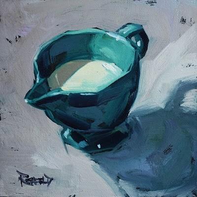 """Fiestaware Creamer with Milk"" original fine art by Cathleen Rehfeld"