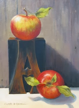 """'A is for Apple' An Original Oil Painting by Claire Beadon Carnell"" original fine art by Claire Beadon Carnell"