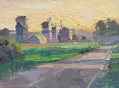 """Rush Hour__grain elevators,"" original fine art by V.... Vaughan"