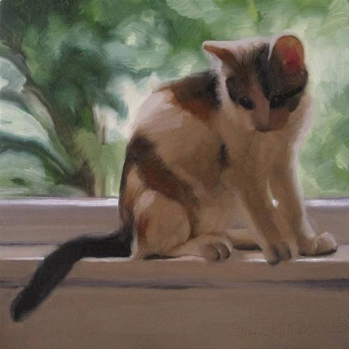 """On a Ledge young calico cat in window"" original fine art by Diane Hoeptner"