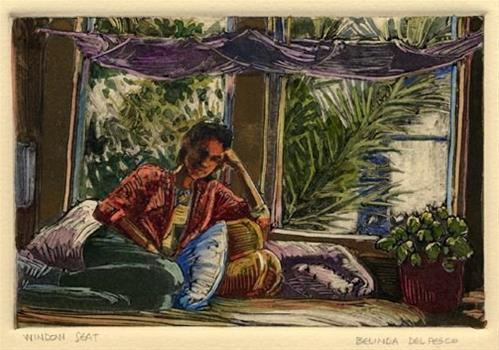 """Monotype: Window Seat (& praise for Video Art Tutorials)"" original fine art by Belinda Del Pesco"