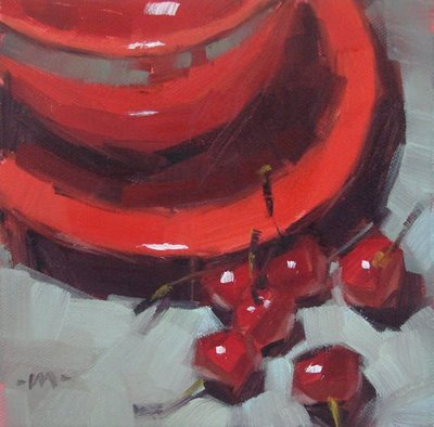 """Cherries Besides"" original fine art by Carol Marine"