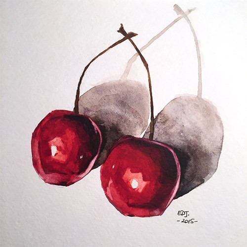 """Cherries No. 1"" original fine art by Elizabeth Dawn Johnston"
