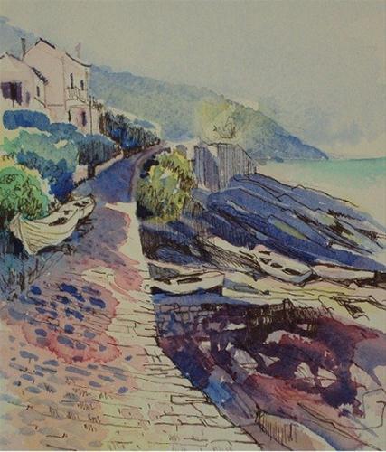 """Italy, Elba Island, Boats on Rocky Shore"" original fine art by Nicola Dalbenzio"