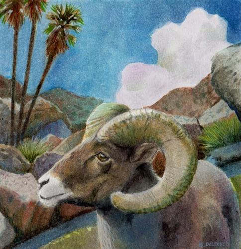 """Watercolor: Ram"" original fine art by Belinda Del Pesco"