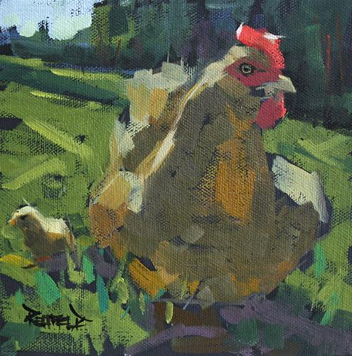 """Don't Mess With My Chick"" original fine art by Cathleen Rehfeld"