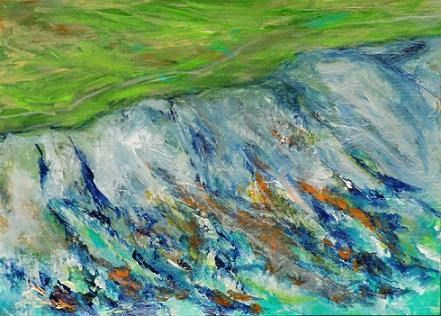 """3152 - COASTAL WALK - ACEO Series"" original fine art by Sea Dean"
