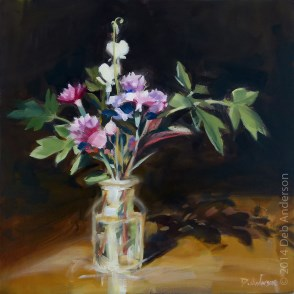 """Oil painting: pink bouquet"" original fine art by Deb Anderson"