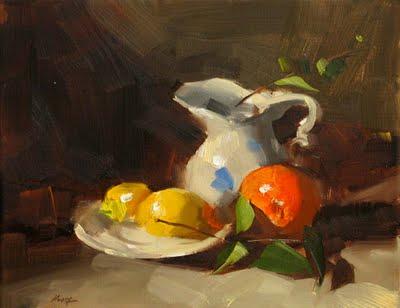 """""""Demo at Granbury 1 - Orange and Lemons --- Sold"""" original fine art by Qiang Huang"""