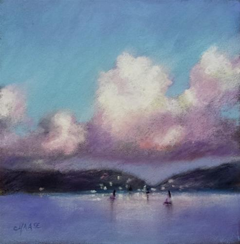 """Harbor Lights"" original fine art by Cindy Haase"