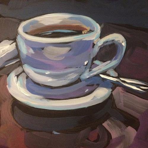 """Cafe' Maude; The Second Cup"" original fine art by Kat Corrigan"