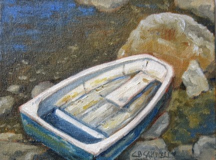 """""""'Dinghy' An Original Oil Painting by Claire Beadon Carnell 30 Paintings in 30 Days Challenge Day Nin"""" original fine art by Claire Beadon Carnell"""
