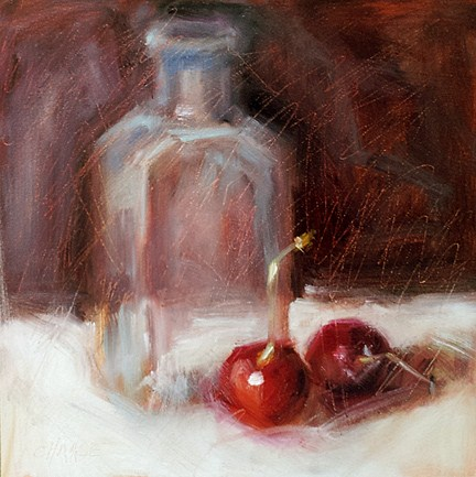 """Cherries and Bottle"" original fine art by Cindy Haase"