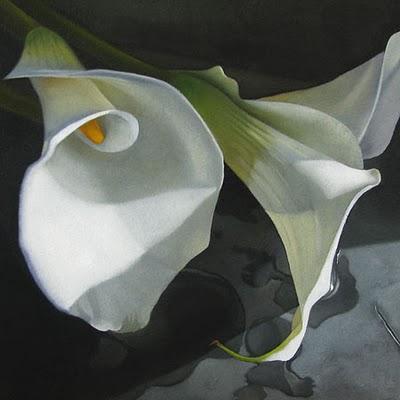 """Three Lilies   6x6"" original fine art by M Collier"