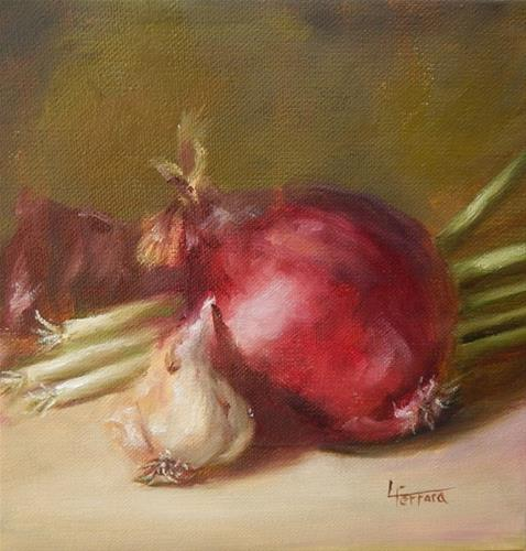 """Garlic and Onions for Cynthia"" original fine art by Lina Ferrara"
