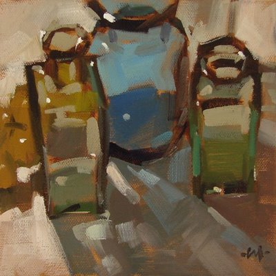 """Backlit Bottles"" original fine art by Carol Marine"