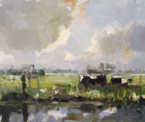 """""Cows, Clouds and Contrast"""" original fine art by Roos Schuring"
