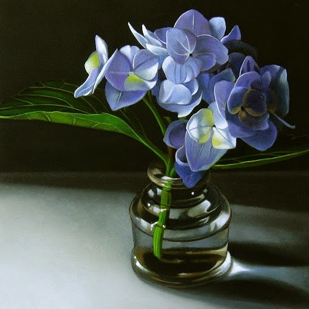 """Blue Hydrangea 6x6"" original fine art by M Collier"