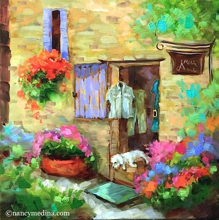 """French Boutique Bichon and the Paint France Countdown - Floral and French Paintings by Nancy Medina"" original fine art by Nancy Medina"