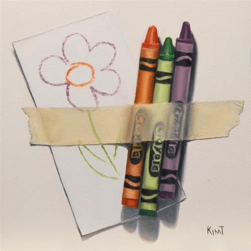 """Crayons with Flower"" original fine art by Kim Testone"