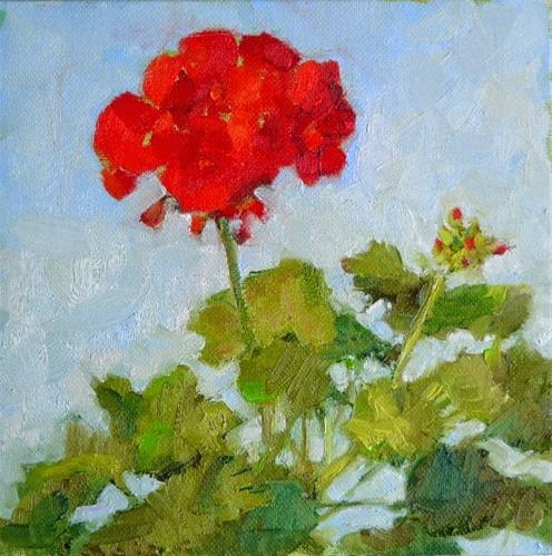 """Geranium in March,still life,oil on canvas,8x8,price$300"" original fine art by Joy Olney"
