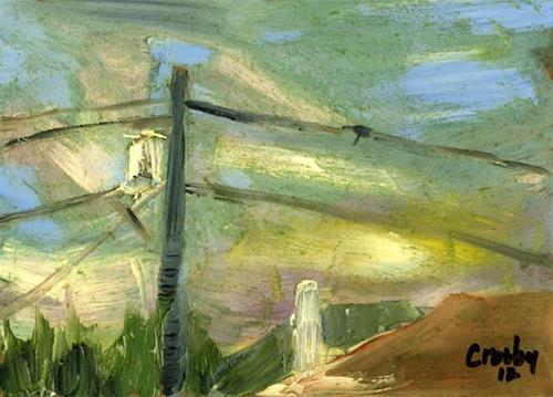 """Transformer Sunset"" original fine art by Donna Crosby"
