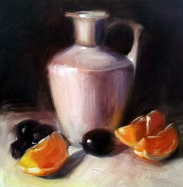 """Orange, Grapes and Pitcher"" original fine art by Cindy Haase"