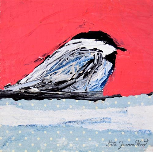 """Pink Chickadee Bird Painting No 13"" original fine art by Katie Jeanne Wood"