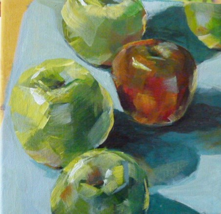 """Five Apples"" original fine art by Sabine Hüning"