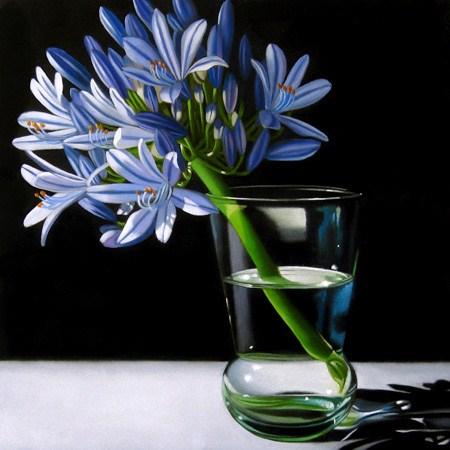 """""""Agapanthus 6x6"""" original fine art by M Collier"""