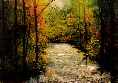 """A Stream in the Woods"" original fine art by Bob Kimball"