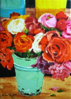 """Red, Pink, Orange, Mint Green"" original fine art by JoAnne Perez Robinson"