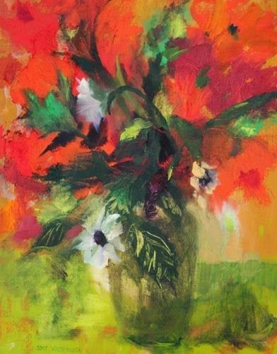 """Red & Green, Contemporary Floral Paintings by Arizona Artist Amy Whitehouse"" original fine art by Amy Whitehouse"