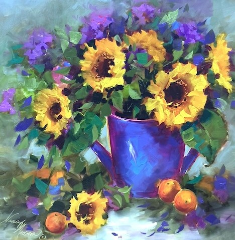 """A Provence  Workshop and Rainwater Sunflowers"" original fine art by Nancy Medina"