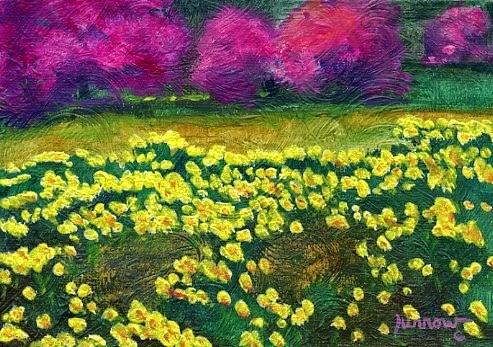 """ORIGINAL LANDSCAPE PAINTING - GARRETT'S FARM IN THE SPRING"" original fine art by Sue Furrow"