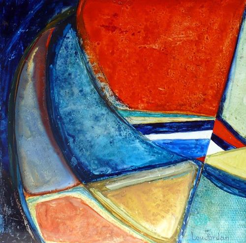 """Contemporary Geometric Abstract Painting Santa Catalina by Contemporary New Orleans Artist Lou Jor"" original fine art by Lou Jordan"