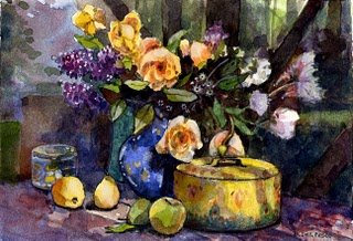"""Watercolor: Study for Yellow Roses & Lilacs"" original fine art by Belinda Del Pesco"