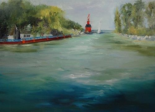 """Big Red, from Lake Macatawa, 9 x 12 Oil, Landscape"" original fine art by Donna Pierce-Clark"