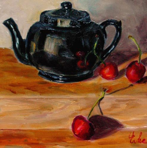 """""""La théière noire"""" original fine art by Evelyne Heimburger Evhe"""