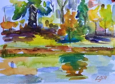 """October Pond"" original fine art by Lyn Gill"